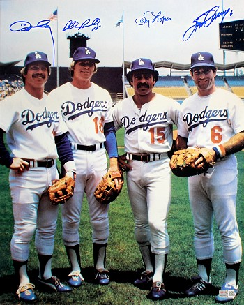 Steve Garvey, Davey Lopes, Bill Russell & Ron Cey Autographed LA Dodgers 16x20 Photo