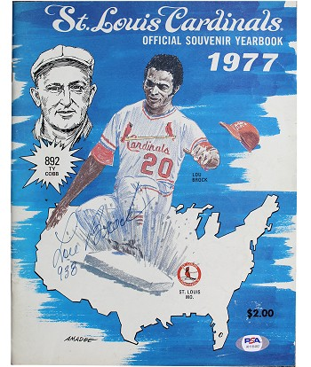 Lou Brock Autographed 1977 St. Louis Cardinals Souvenir Yearbook Inscribed 938