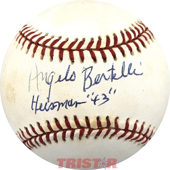 "Angelo Bertelli Autographed National League Baseball Inscribed ""Heisman 43."""