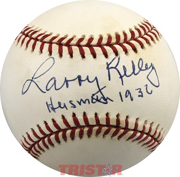 "Larry Kelley Autographed American League Baseball Inscribed ""Heisman 1936."""