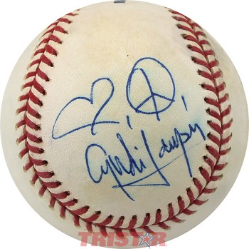 Cyndi Lauper Autographed Baseball Inscribed with Heart and Peace Sign