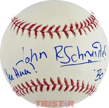 John Schneider Autographed Official Major League Baseball Inscribed Yee Haw! Bo