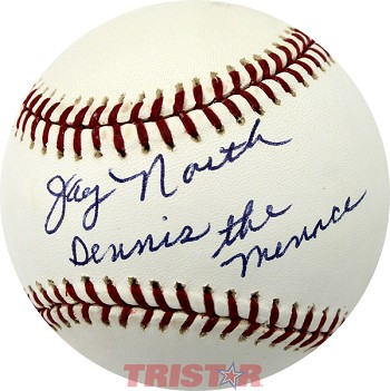 Jay North Autographed Official Major League Baseball Inscribed Dennis the Menace