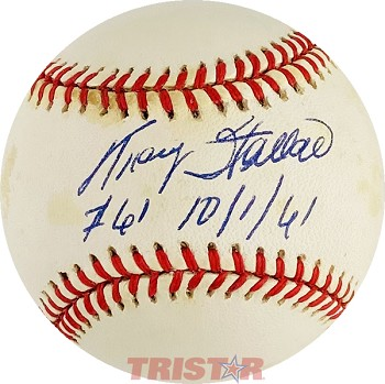 Tracy Stallard Autographed Official American League Baseball Inscribed #61 10-1-61