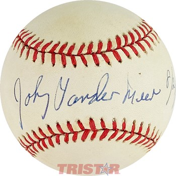 Johnny Vander Meer Autographed Official National League Baseball Inscribed 8/21/1993