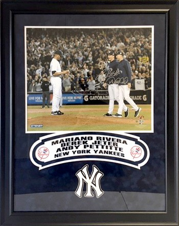 Derek Jeter, Mariano Rivera & Andy Pettitte Autographed New York Yankees 16x20 Photo