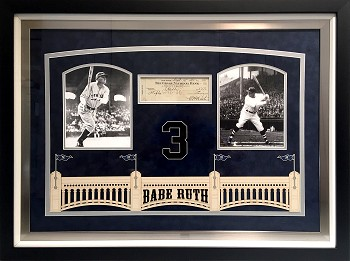 Babe Ruth Autographed Double Signed Check with Custom Frame Yankees Photos