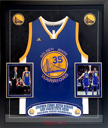 Stephen Curry, Kevin Durant & Steve Kerr Autographed Warriors Jersey Framed