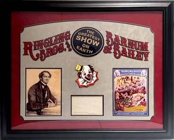 P.T. Barnum Autographed Cut Signature with Custom Ringling Brothers Circus Frame