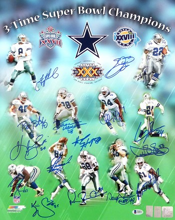 Dallas Cowboys Autographed 3x Super Bowl Champs 16x20 Photo with 15 Signatures - Aikman, Smith, Irvin