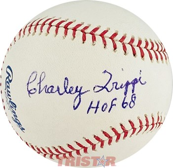Charley Trippi Autographed Official Major League Baseball Inscribed HOF 68