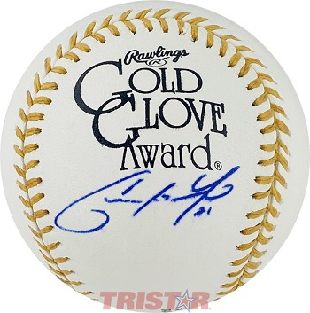Christian Yelich Autographed Official Gold Glove Award Baseball Inscribed 21