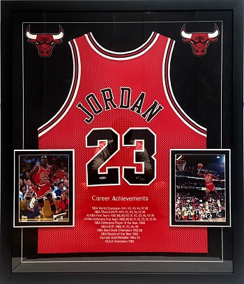 Michael Jordan Autographed Chicago Bulls Career Stat Jersey Framed
