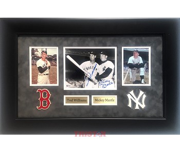 Mickey Mantle & Ted Williams Dual Autographed 8x10 Photo Framed
