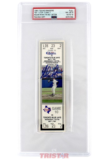 Nolan Ryan Autographed 7th No-Hitter Game Ticket PSA Grade NM-MT 8