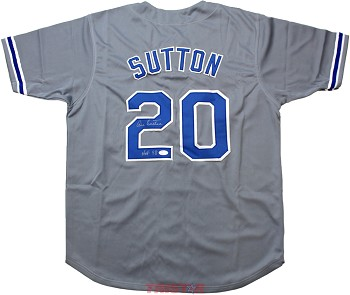 Don Sutton Autographed Los Angeles Dodgers Gray Custom Jersey Inscribed HOF 98
