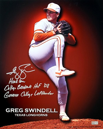 Greg Swindell Autographed Texas Longhorns 16x20 Photo Inscribed HOF 08, Greatest College Left Hander