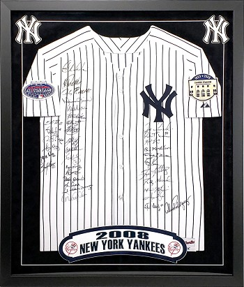 2008 Yankees Team Autographed Framed Authentic Jersey with 35 Signatures