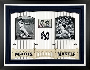 Roger Maris & Mickey Mantle Autographed New York Yankees 3x5 Photo Framed