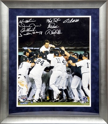2009 Yankees Autographed Framed World Series Champs 16x20 Photo - Damon, Jeter, Rivera & More