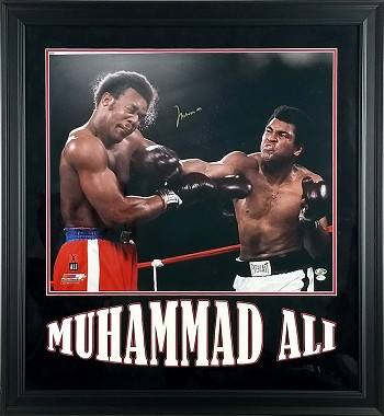 Muhammed Ali Autographed Boxing Foreman 20x24 Photo Framed