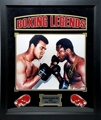 Muhammed Ali & Joe Frazier Autographed 16x20 Photo Boxing Legends Framed