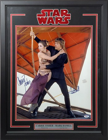 Carrie Fisher & Mark Hamill Autographed Star Wars 16x20 Photo Framed