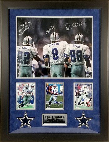 Troy Aikman, Emmitt Smith & Michael Irvin Autographed Dallas Cowboys 16x20 Photo Triplets Framed
