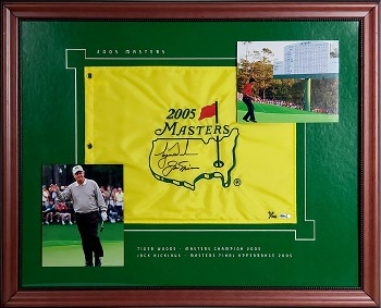 Jack Nicklaus & Tiger Woods Autographed 2005 Masters Tournament Pin Flag Framed