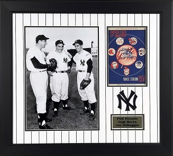 Yogi Berra, Joe DiMaggio & Phil Rizzuto Autographed Framed Official 1951 Yankees Program