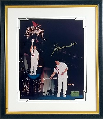 Muhammad Ali Autographed Olympic Torch 16x20 Photo Framed