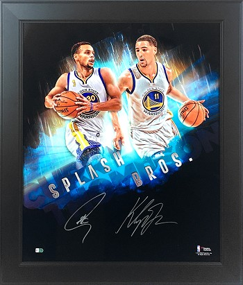 Steph Curry & Klay Thompson Autographed Golden State Warriors Splash Bros 20x24 Photo Framed