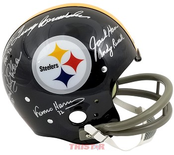 Pittsburgh Steelers Legends Autographed Full Size Throwback Helmet - Bradshaw, Greene & More