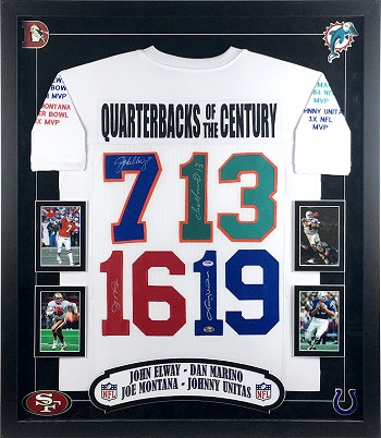 Elway, Marino, Montana & Unitas Autographed Commemorative Jersey Framed