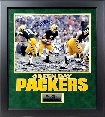 Bart Starr & Paul Hornung Autographed Green Bay Packers 16x20 Photo Framed