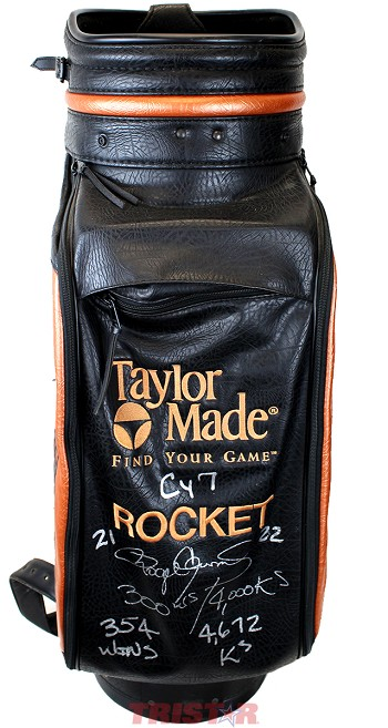 Roger Clemens Autographed Taylor Made 'Rocket' Embroidered Used Golf Bag