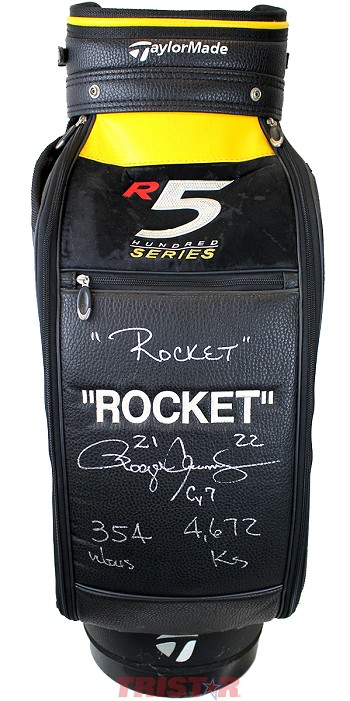 "Roger Clemens Autographed Taylor Made Custom ""Rocket"" Embroidered Used Golf Bag"
