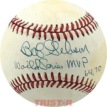 Bob Gibson Autographed Official NL Baseball Inscribed World Series MVP 64, 70
