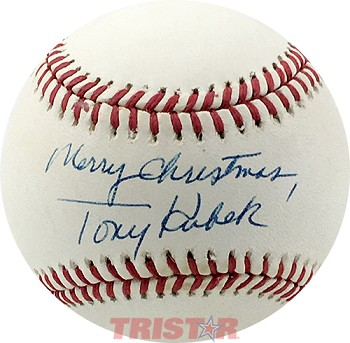 Tony Kubek Autographed Official AL Baseball Inscribed Merry Christmas