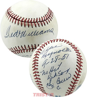 Ted Williams, Yogi Berra & Allie Reynolds Autographed AL Baseball Inscribed 9-28-51 No Hit Red Sox