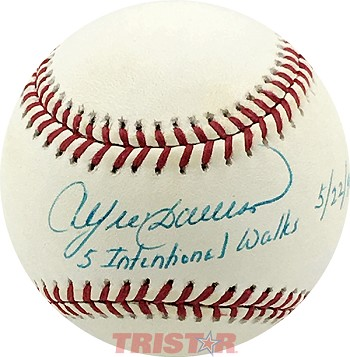 Andre Dawson Autographed Baseball Inscribed 5 Intentional Walks 5/22/90
