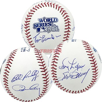Tom Lasorda, Steve Garvey, Bill Russell, Davey Lopes & Ron Cey Autographed 1981 World Series Baseball