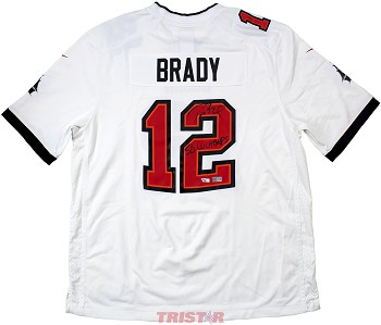 Tom Brady Autographed Tampa Bay Buccaneers White Nike Game Jersey Inscribed LV Champs