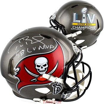 Tom Brady Autographed Tampa Bay Buccaneers SB LV Champs Authentic Speed Full Size Helmet Inscribed LV MVP