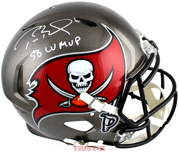 Tom Brady Autographed Tampa Bay Buccaneers Authentic Speed Full Size Helmet Inscribed LV MVP