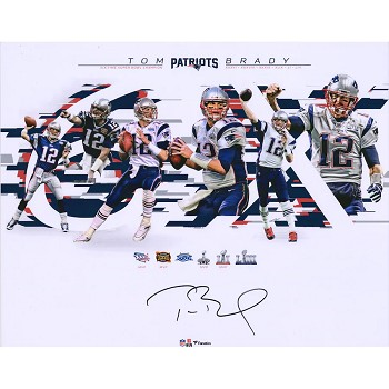 Tom Brady Autographed New England Patriots 6-Time Champions 16x20 Photo