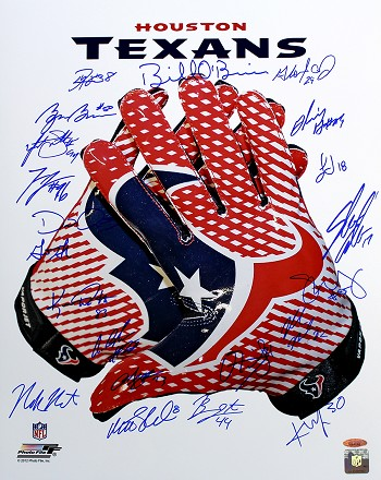 Houston Texans Autographed Glove 16x20 with 24 Signatures