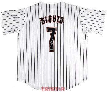 Craig Biggio Autographed Houston Astros Replica Jersey Inscribed HOF 15
