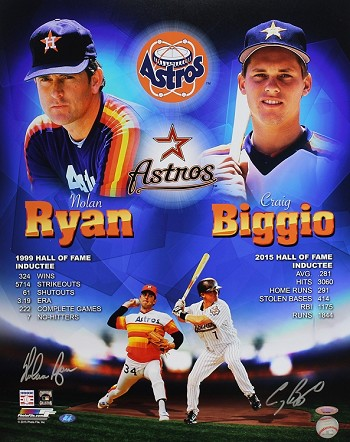 Nolan Ryan & Craig Biggio Autographed Houston Astros 16x20 Collage Photo